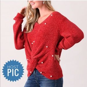 🎉HP🎉 Red Embellish Twist-Front Sweater XL